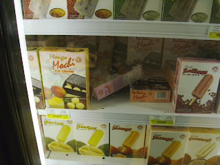 durian ice cream bars in display case at Great Wall