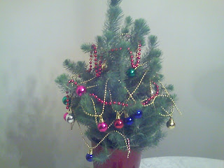 mini pine tree with Christmas decorations