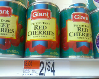 shelf of tart canned cherries at Giant Food