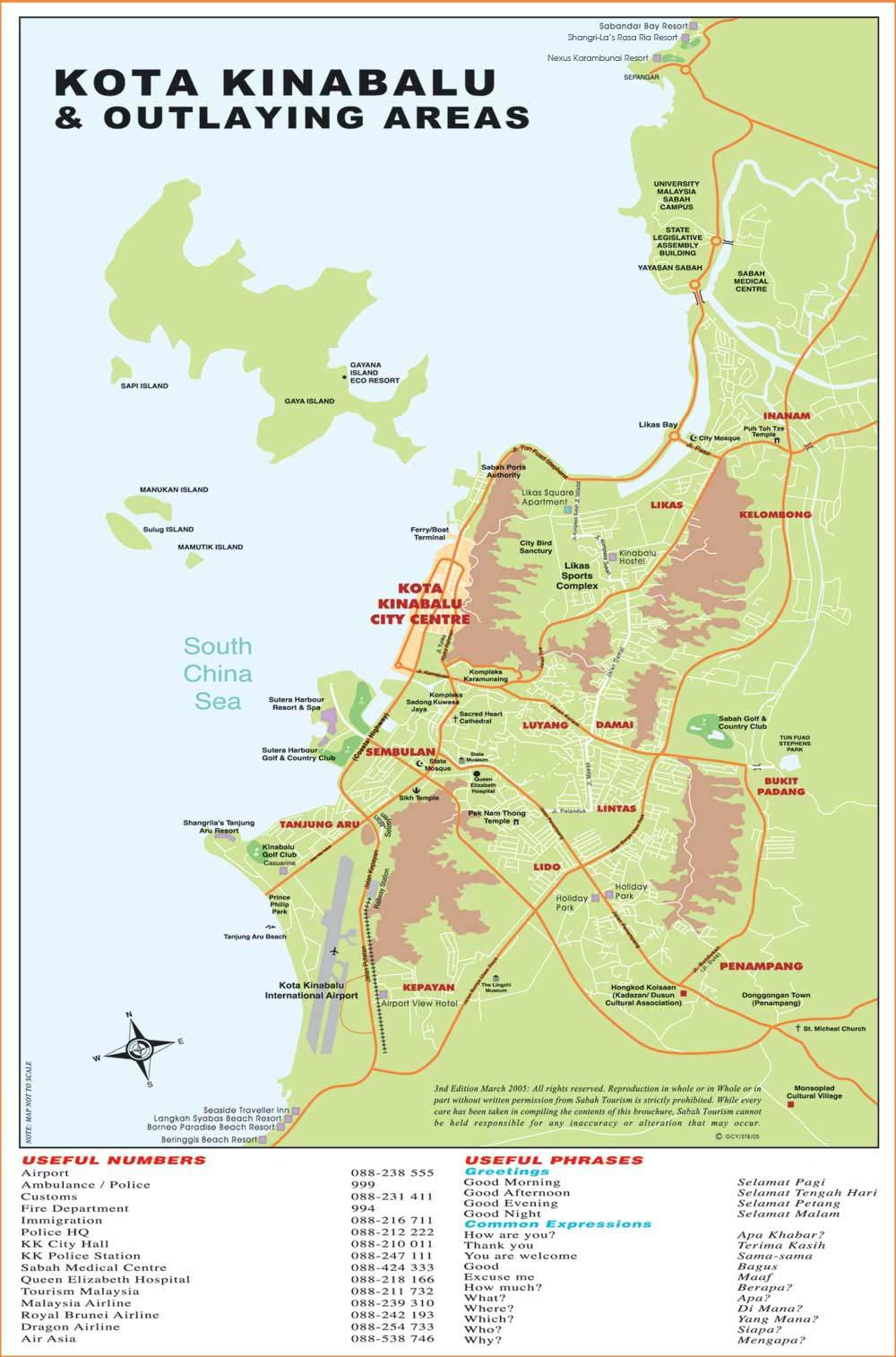 Sabah Malaysian Borneo Sabah Westcoast Map