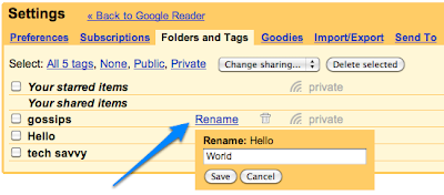 Renaming on the settings page