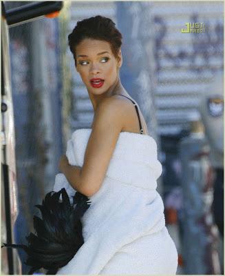 Rihanna On The Set Of 'Disturbia' Video