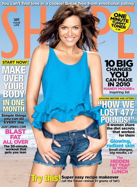 Mandy Moore Covers the January 2010  Issue of Shape Magazine