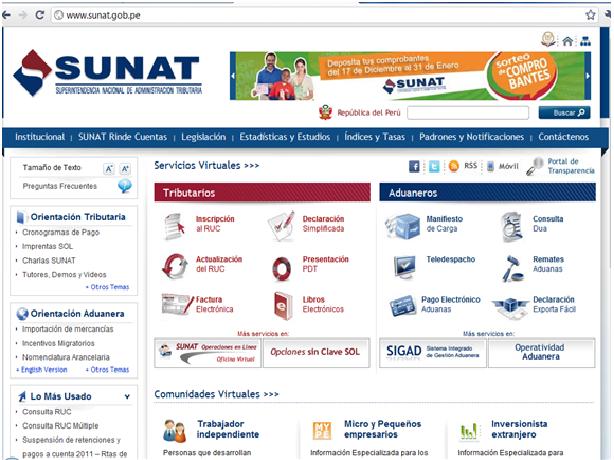 Sunat tiene nueva web en el 2011.
