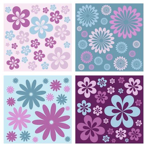 Decoraciones Naif ~ Fondos florales mosaiqueables (Tileable Flower Vector Patterns