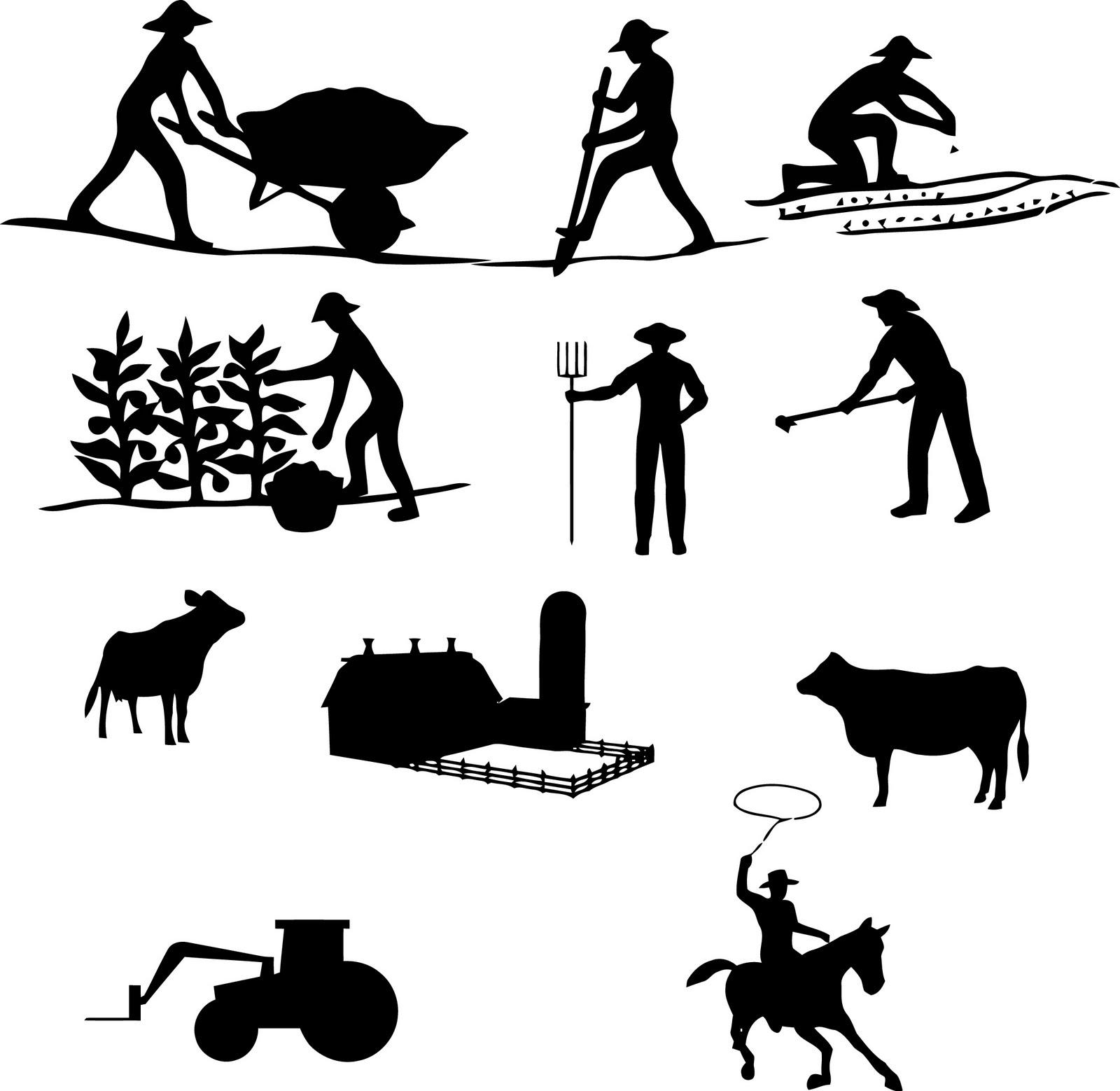 Farm Silhouette (vector farm silhouettes)
