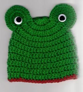 Free Crochet Pattern Newborn Frog Hat : Frog Head Hat Free Crochet Pattern from the Baby hats and ...
