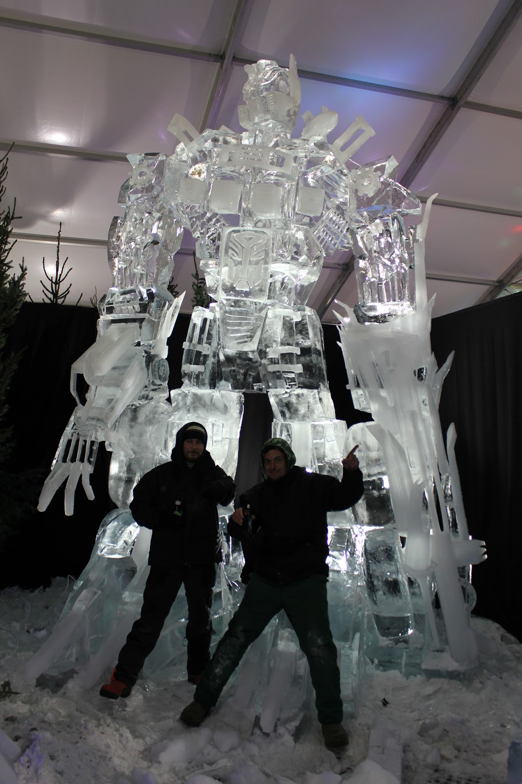 26 foot tall optimus prime ice sculpture