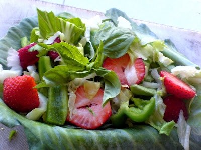 Strawberry, Lettuce, Pak Choi, and Pepper Salad