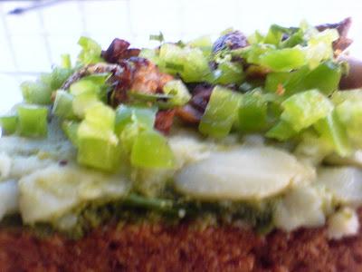 Mushroom, Potato and Pepper Open Sandwich