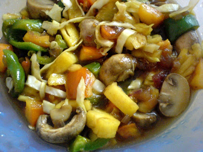 5-Minute Stir Fry with Mushrooms, Peppers, Pineapple, Tomatoes, and Cabbage in a Hoisin Sauce