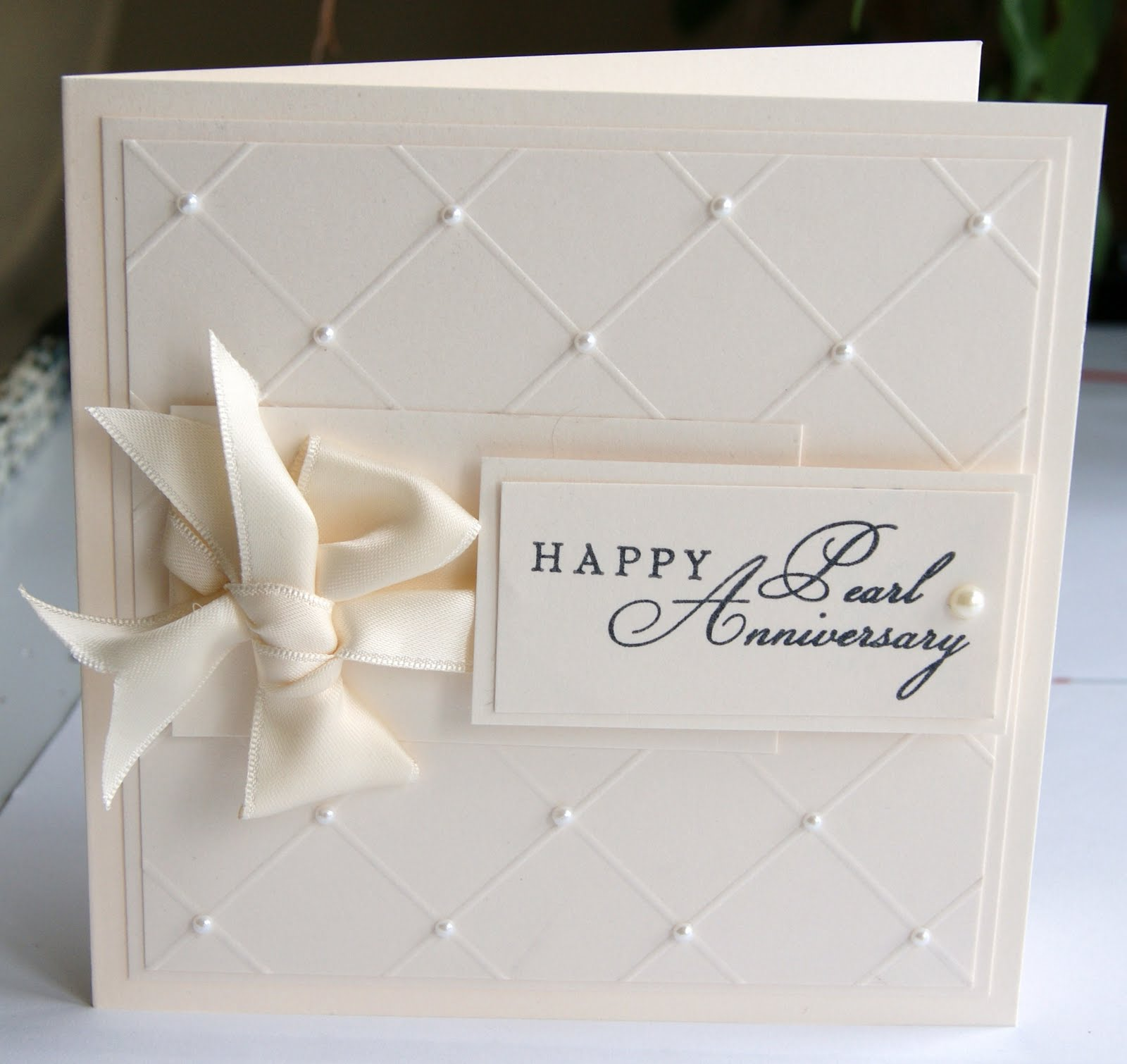 30th Wedding Anniversary Gift Ideas For Wife : Causeway Crafts: Pearl Anniversary Card