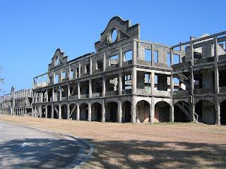 Remnants of the mile long barracks