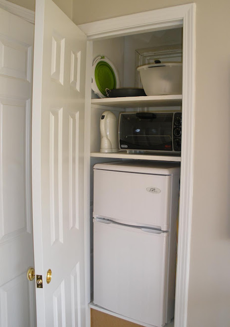 fridge with freezer, and toaster oven