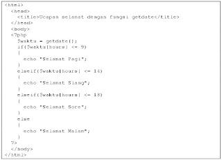contoh program menggunakan fungsi getdate