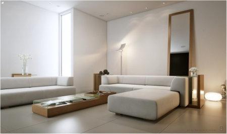 el color blanco puede ser perfecto para enfatizar muebles de madera y darle al saln una sensacin orgnica