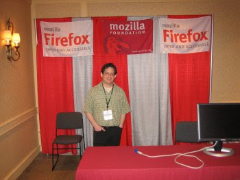 Aaron at Mozilla booth
