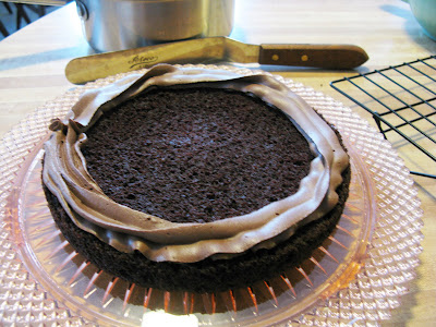 "... Perfectly Chocolate"" Chocolate Cake with Mousse Filling and Chocolate"