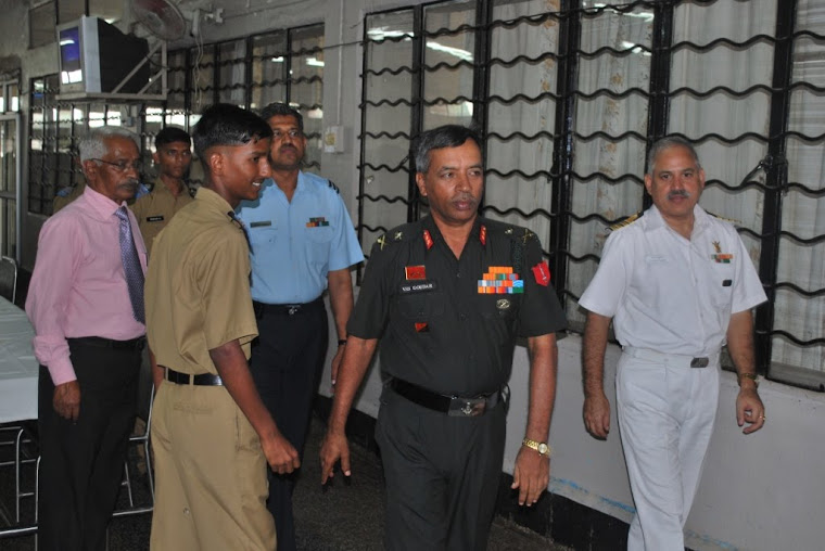 Maj Gen VSS Goudar leaving the Cadets' Mess after lunch with the fellow Ajeets & Staff
