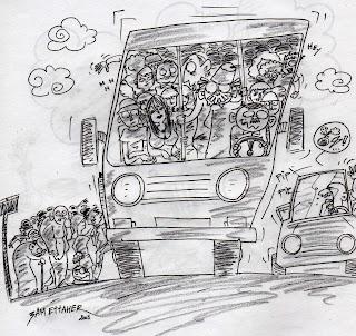 3am Ettaher dans un bus jaune en tunisie