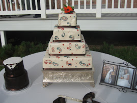 4-tier square fondant and 2-tier round fondant groom's cake