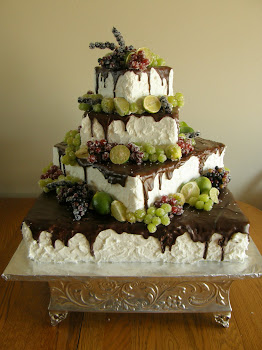 4-tier square chocolate drizzle and sugared fruit