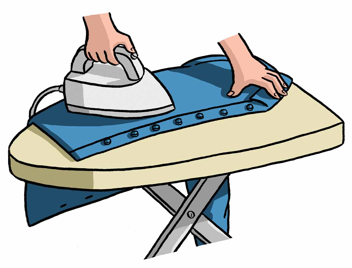 Spray the shirt with sizing rather than starch -- you will get a neat, but not stiff result. Allow the sizing to be absorbed into the fibers for a couple of minutes before ironing. 3.
