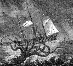 Imajinasi Seniman Menggambarkan Penyerangan Cumi-cumi Kolosal Pada Kapal