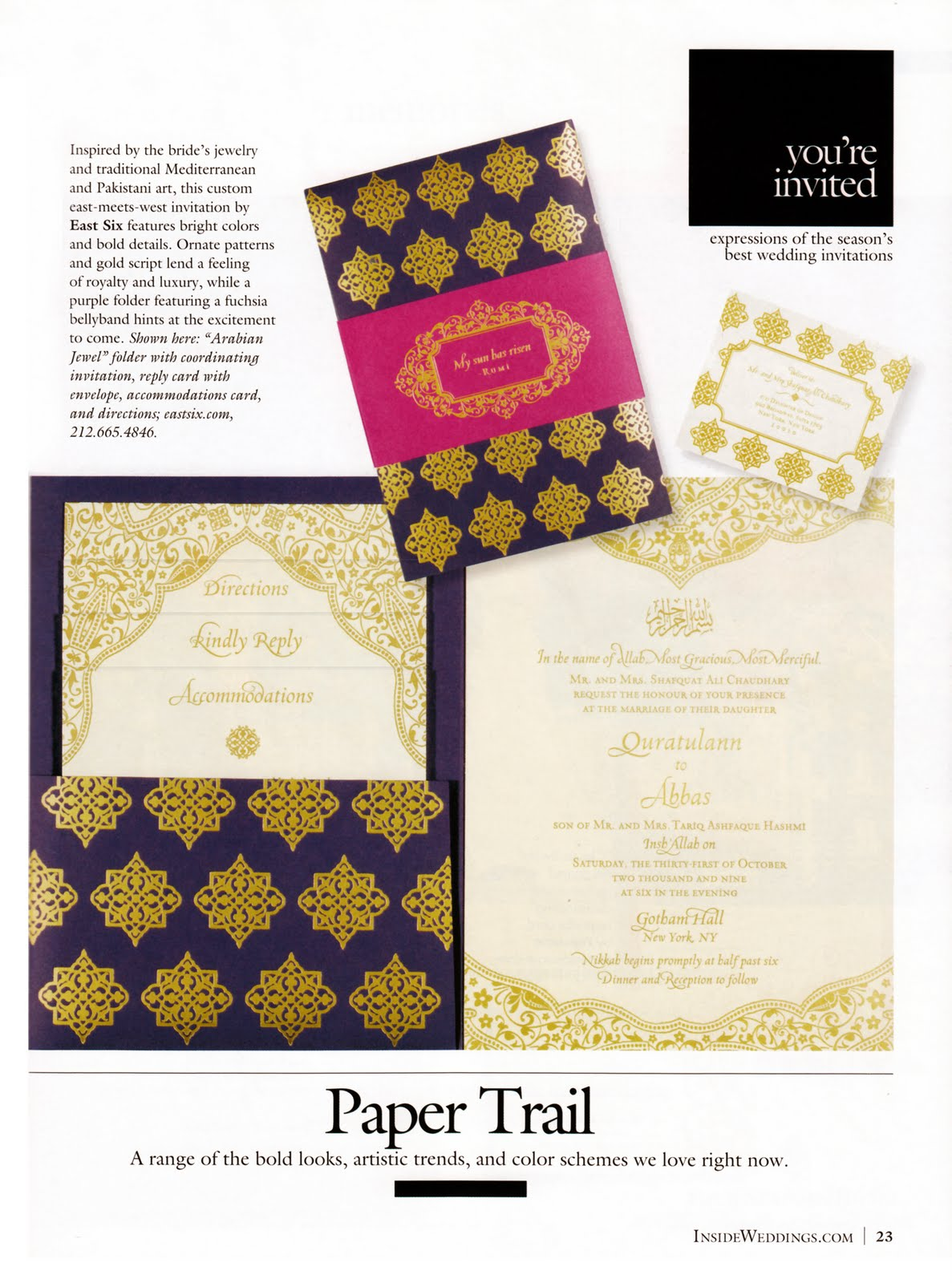 Inside Weddings: Ann + Abbas\'s wedding invitations