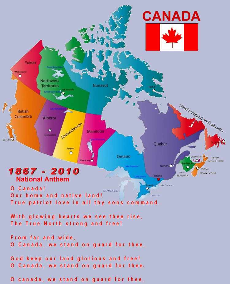 NanaimoInfoblog Canadian Anthem Canadian Flag Map of Canada