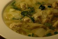 Wonton soup, without the noodles and in urgent need of soy sauce!