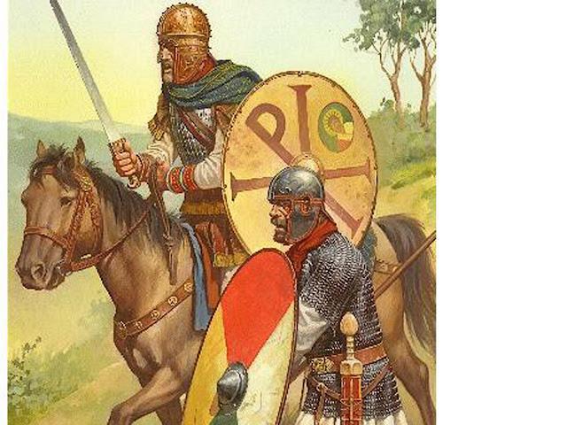 Infante y caballero bajoimperial. Nótese el Crismón en el escudo del jinete.