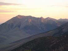 Mt. Borah, 6:30 AM, sun illuminating distant mountain peaks