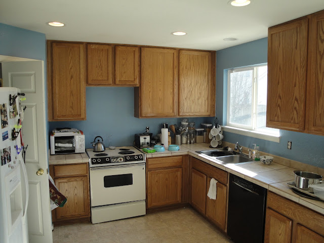 Mr homeowner tear down this wall kitchen blue for Blue paint for kitchen walls
