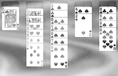 The daunting 4-suite Spider Solitaire level.