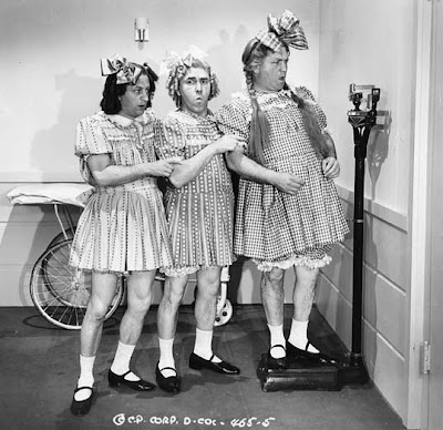 Larry, Moe, and Curly in drag.