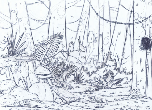forêt sous-bois printemps crayonné illustration jeunesse blogger