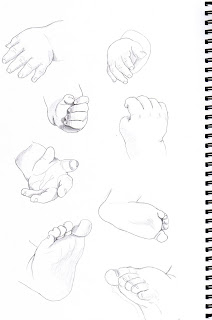the top 2 hands were observational sketches of a close friend to family with their newly born baby this baby boy is only 5 months old