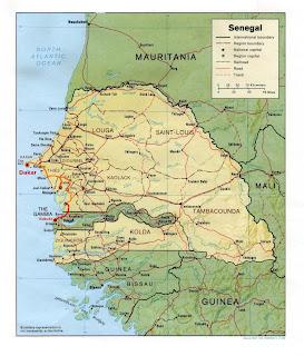 Rota de Tabakouta no Senegal até Sukuta no Gâmbia