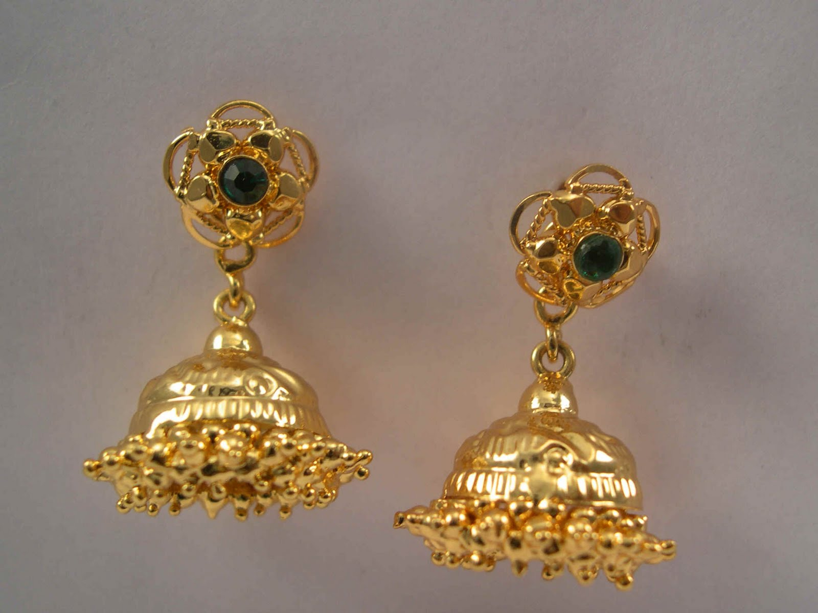 India Gold Jhumka Earrings, India Gold Jhumka Earrings