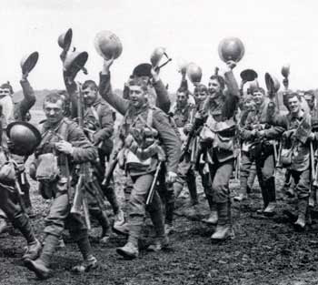 British Troops Celebrate end of WWI