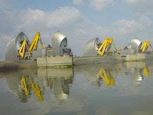 the Thames Barrier, closed