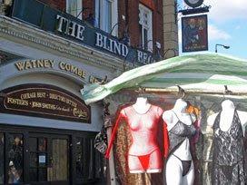 Lingerie stall outside Blind Beggar