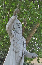 William Booth pointy statue on Mile End Waste