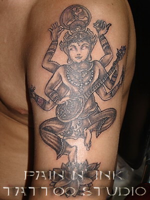 Black and Grey - Ganesh Tattoo - Sleeve