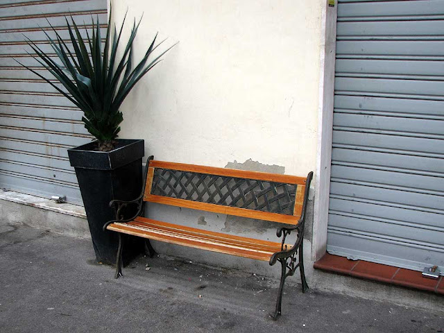 Bench outside a shop, via Malta, Livorno
