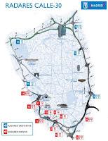Localización de los radares en Calle 30 o la M-30 de Madrid