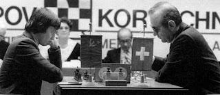 Foto del encuentro de ajedrez Karpov vs Korchnoi en Merano, 1981