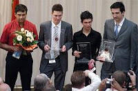 Los premiados en el Torneo de Ajedrez Sparkassen Chess Meeting de Dortmund