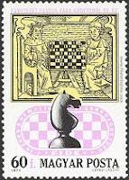 Ajedrez por correspondencia, sello sobre ajedrez de Hungría
